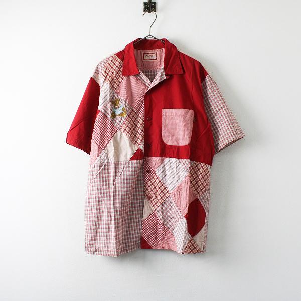 Karl Helmut カールヘルム くま刺繍 パッチワーク チェック オープンカラーシャツ F/レッド メンズ【2400012218994】