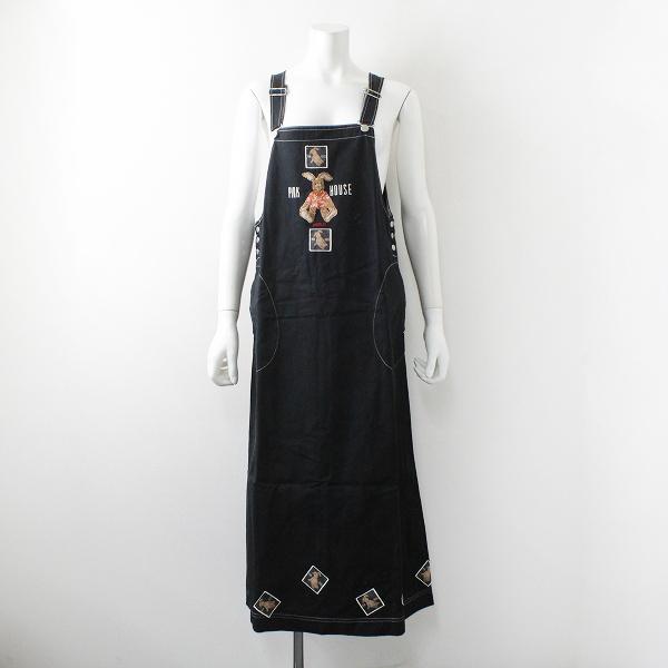 PINK HOUSE ピンクハウス うさぎ刺繍 ワッペン サロペットスカート F/ブラック ぬいぐるみ【2400012219625】