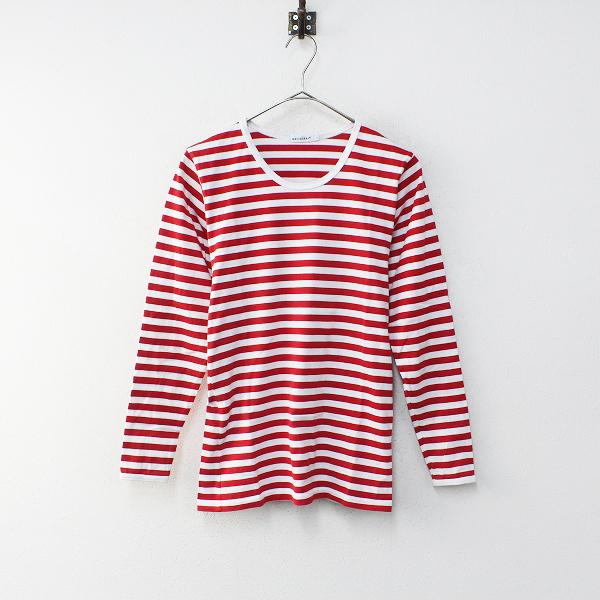 marimekko マリメッコ ボーダー ロングスリーブ Tシャツ XS/レッド カットソー【2400012220294】
