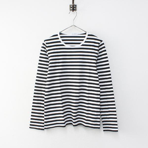 marimekko マリメッコ ボーダー ロングスリーブ Tシャツ M/ブラック カットソー【2400012220300】