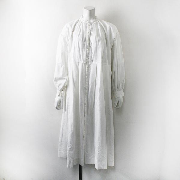 2019AW 定価4.1万 nest Robe ネストローブ ヘンプコットン 刺繍ワンピース F/ホワイト ロング【2400012220393】