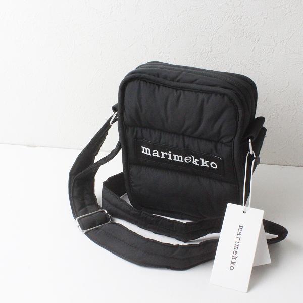 未使用品 定価1.8万 marimekko マリメッコ LEIMEA キルト ショルダーバッグ/ブラック 鞄【2400012220713】