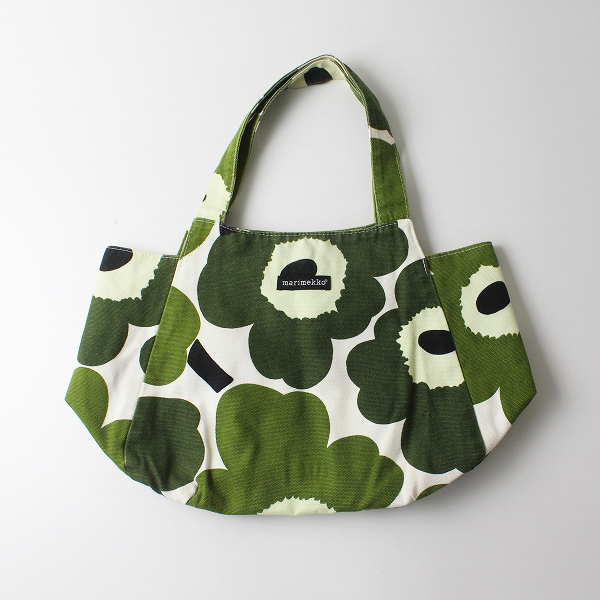 marimekko マリメッコ UNIKKO ウニッコ キャンバス トートバッグ/グリーン 鞄【2400012222717】