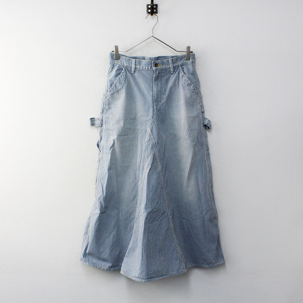 KAPITAL キャピタル ヒッコリーストライプ ペインター デニムスカート 1/ブルー ワーク【2400012227880】