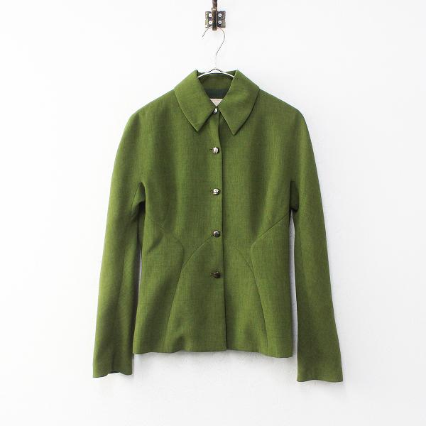 上品 Sybilla シビラ 美シルエット シャツジャケット 40/グリーン 羽織り ハオリ ベーシック 圧縮【2400012229327】