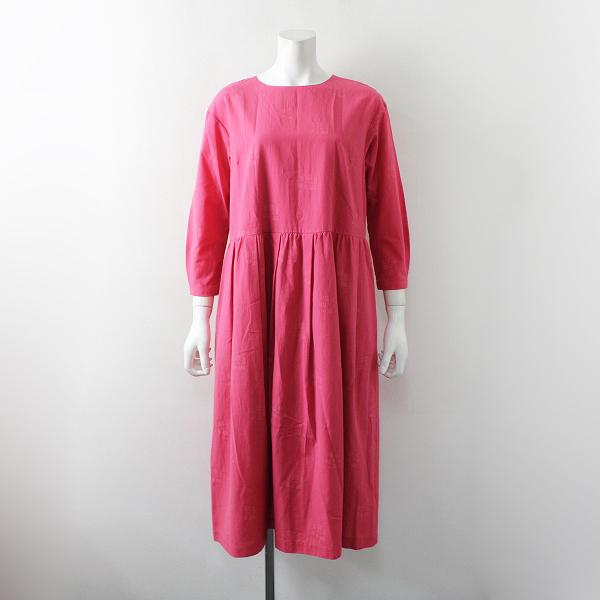 美品 2021SS今季 Sally Scott サリースコット Emerge コットンポリエステルジャガードドレス 7AR/ピンク 製品染め【2400012229457】