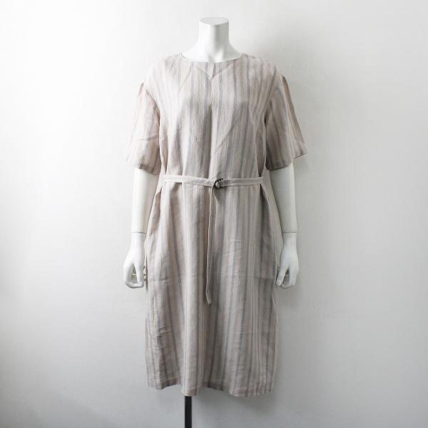Sally Scott サリースコット ストライプジャガード織りリネンフレアシルエットワンピース 7AR/ベージュ ドレス【2400012229464】