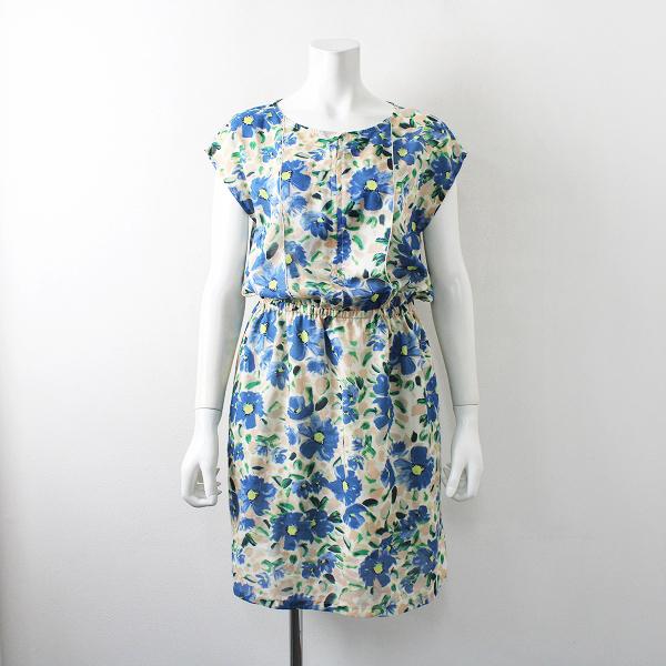 Crespi クレスピ フラワープリント ノースリーブワンピース /花柄 ドレス 水彩画調 下地付き【2400012231078】