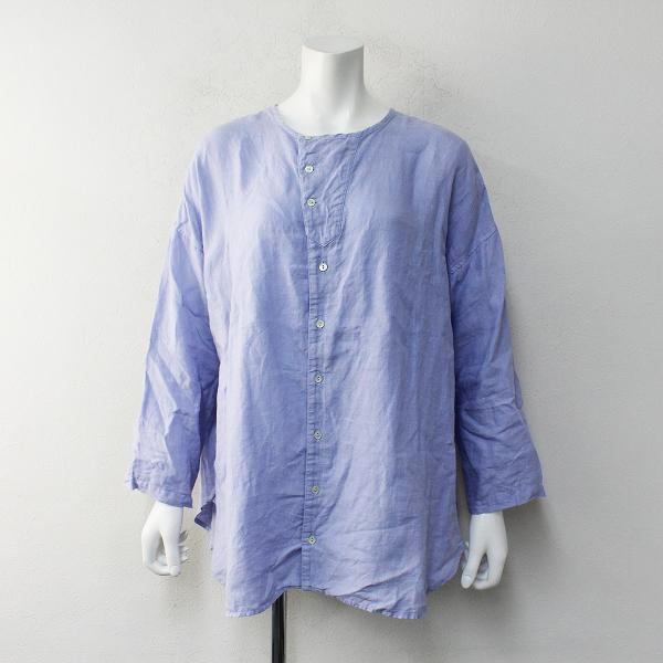 2020SS nest Robe ネストローブ リネン ノーカラーブラウス F/ブルー系 シャツ【2400012232167】