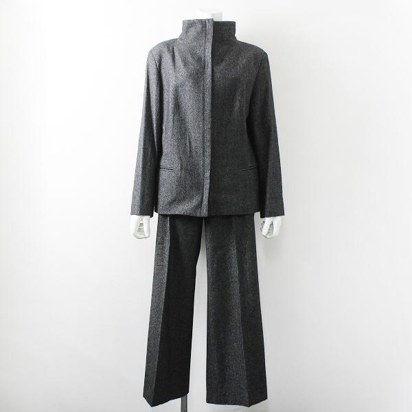 大きいサイズ UNTITLED アンタイトル ウールコットンカシミヤ パンツスーツ セットアップ 42-44/グレー【2400012232464】