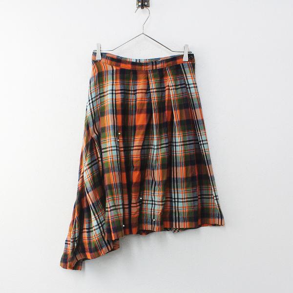 tricot COMME des GARCONS トリコ コムデギャルソン AD1994 ウールチェック パール装飾 変形 スカート M/オレンジ【2400012234543】