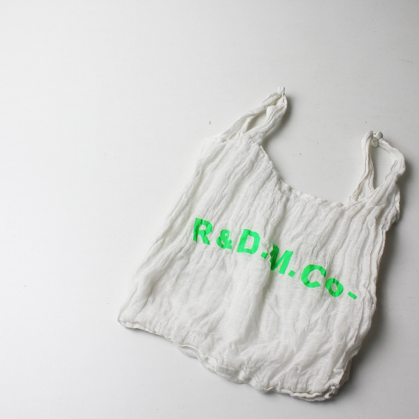 R&D.M.Co- オールドマンズテーラー コットンリネンシルク ロゴ バッグ/ホワイト グリーン【2400012236561】
