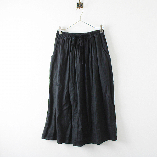 LA MARINE FRANCAISE マリンフランセーズ リネン ギャザー イージー ロング スカート /ブラック ボトムス【2400012237193】