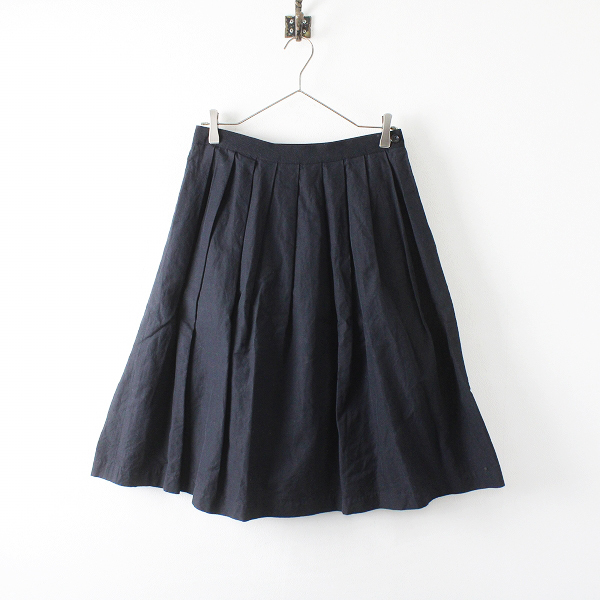MARGARET HOWELL マーガレットハウエル コットンリネン フレア スカート 2/ブラック ボトムス【2400012237216】