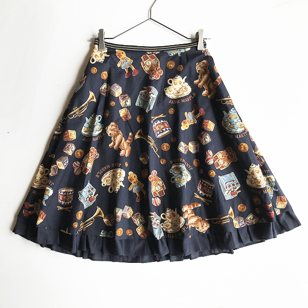 美品 2017AW 定価3.1万 Jane Marple ジェーンマープル DEAR MY CREW フレア スカート M/ネイビー ボトムス【2400012237322】