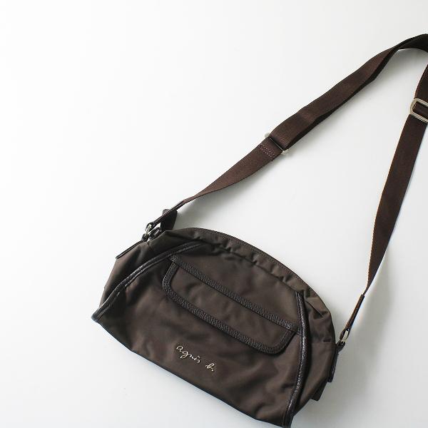 agnes b. アニエスベー ロゴ ナイロンショルダーバッグ/ブラウン 鞄【2400012239234】