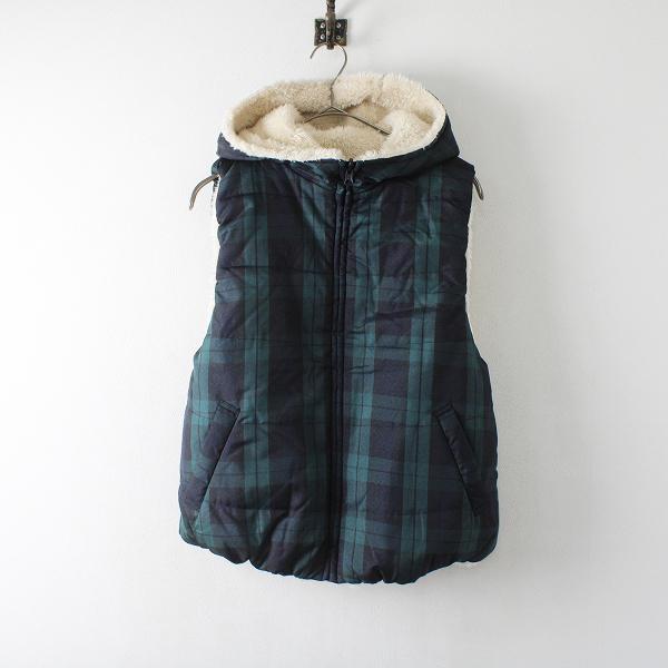 chocol raffine robe ショコラフィネローブ リバーシブル ボア ベスト F/グリーン チェック アウター【2400012239272】