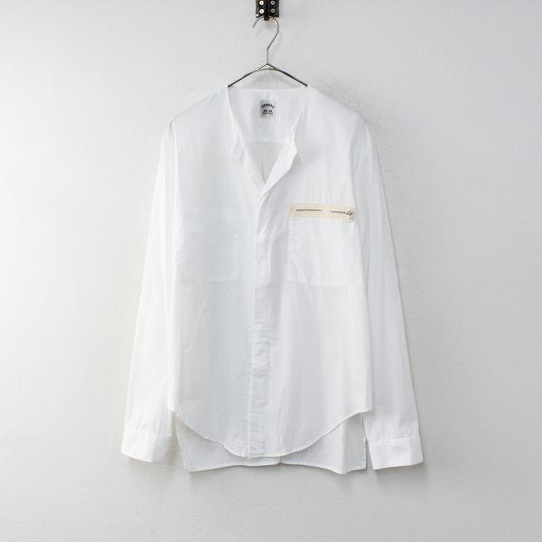 メンズ 2017SS SUNSEA サンシー 17S14 Exploration Shirt ジップ胸ポケット付き ノーカラー 長袖シャツ 2/ホワイト【2400012239623】