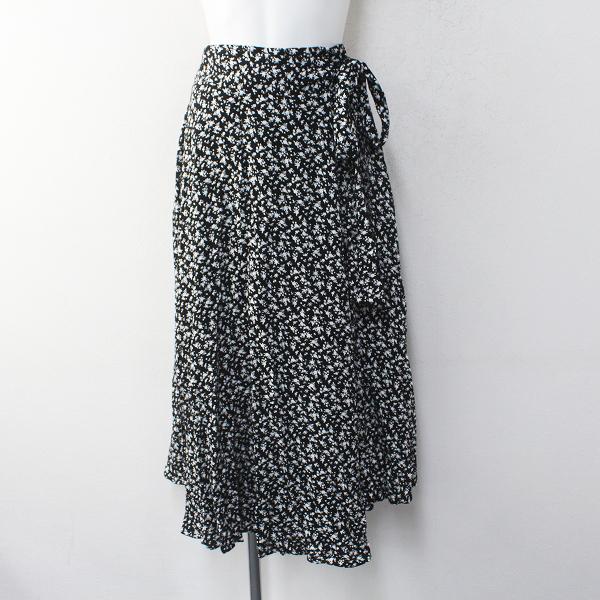 美品 Mila Owen ミラオーウェン ラウンドヘム巻きスカート 1/ブラック 花柄【2400012239791】