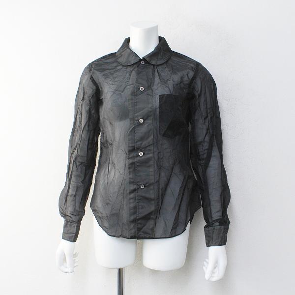 BLACK COMME des GARCONS ブラックコムデギャルソン AD2020 ポリエステルオーガンジーラウンドカラーシャツXS【2400012239982】