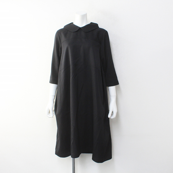 美品 tricot COMME des GARCONS トリココムデギャルソン AD2019 前後着 ウールギャバ丸襟ロングワンピースS/ブラック【2400012239999】
