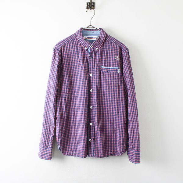Laundry ランドリー コットン ギンガムチェック ボタンダウンシャツ M/ピンク×ネイビー トップス【2400012241039】