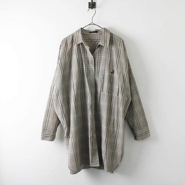 美品 JEANASIS ジーナシス コットン チェック ビッグシャツ F/ベージュ トップス【2400012241046】