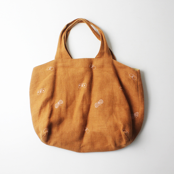 mina perhonen ミナペルホネン choucho 刺繍 パニーニバッグ/ブラウン 鞄【2400012241732】