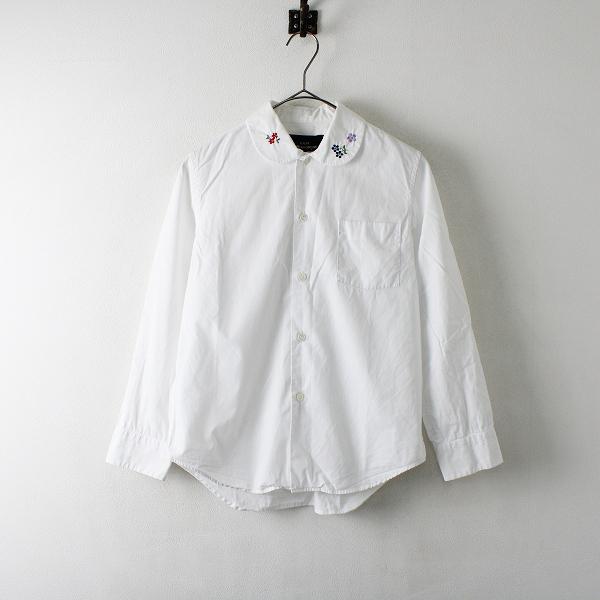 tricot COMME des GARCONS トリココムデギャルソン AD2017 フラワー刺繍 丸襟 コットン長袖シャツS/ホワイト【2400012244511】