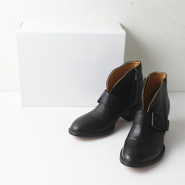 2020AW SAYA サヤ 50817 レザーベルトデザインブーツ 23.5cm/ ブラック 日本製 ブーティ【2400012246638】