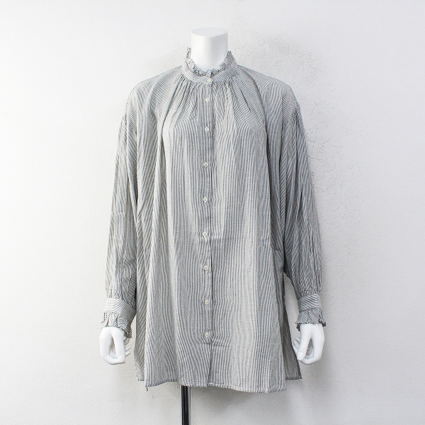 studio CLIP スタジオクリップ コットン スタンドカラー ストライプワイドブラウス L/グレー系 羽織り シャツ【2400012252233】