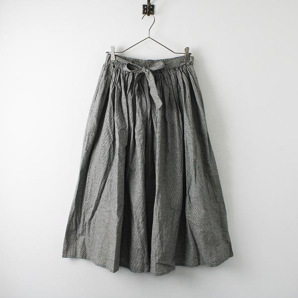 美品 2021SS SM2 Samansa Mos2 サマンサモスモス ウエストリボンベルト付スカート F/チャコールグレー 千鳥格子【2400012256217】