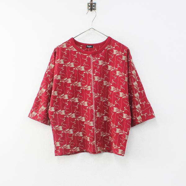 美品 marble SUD マーブルシュッド EMB Rabbix Tシャツ F/レッド 刺繍 ラビックス【2400012257085】