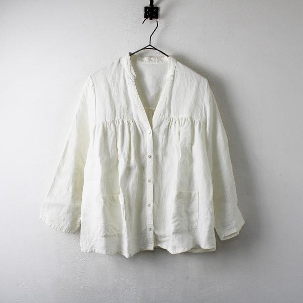 SARAHWEAR サラウェア リネン バンドカラー ギャザーシャツ/オフホワイト トップス【2400012257702】