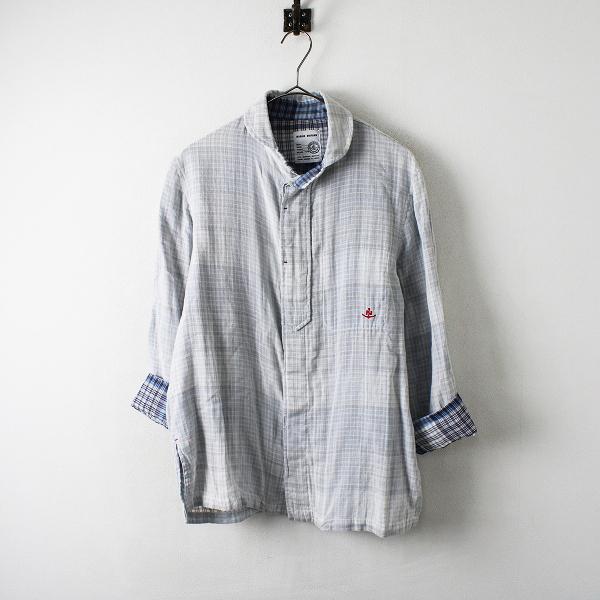 メンズ MARINE UNIFORM マリンユニフォーム コットン ガーゼ チェックシャツ L/グレー ブルー トップス【2400012257924】