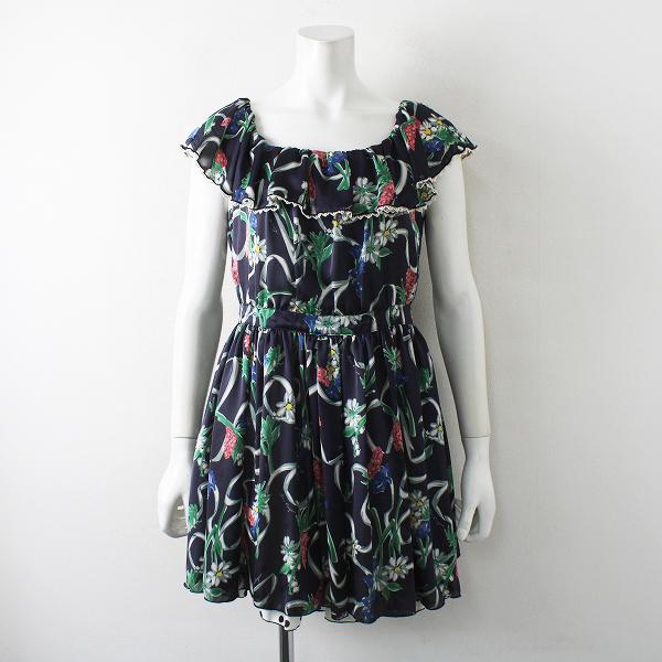 Lois CRAYON ロイスクレヨン フラワーブーケプリント ノースリーブワンピース M/ネイビー ドレス【2400012261495】