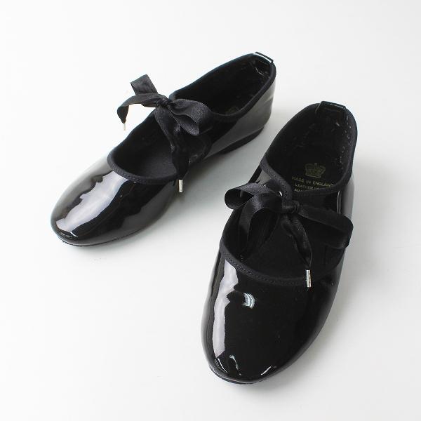 CROWN クラウン エナメル リボン ドレスシューズ 4/ブラック フラット 23.0cm パテント【2400012262492】