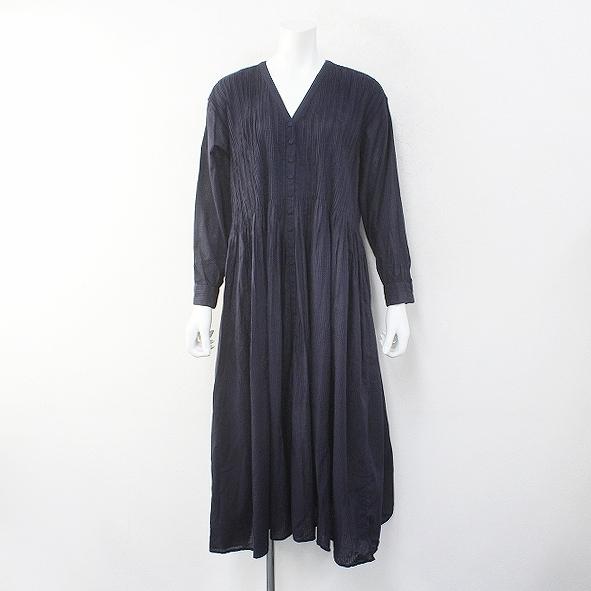 美品 2019SS maison de soil メゾンドソイル V-NECK DRESS with MINI PINTUCK ピンタック Vネック ドレス 2/ネイビー【2400012262706】