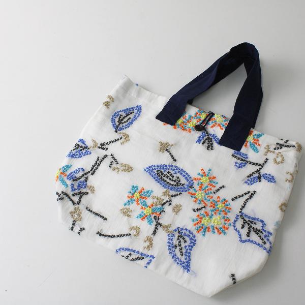 美品 Khadi and Co BESS NIELSEN カディアンドコー ベスニールセン 刺繍 トートバッグ/ホワイト【2400012263093】