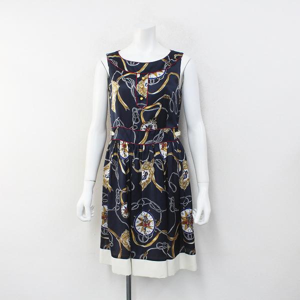 Lois CRAYON ロイスクレヨン コンパスマリンプリントサテンノースリーブワンピースM/ネイビー ドレス【2400012264755】