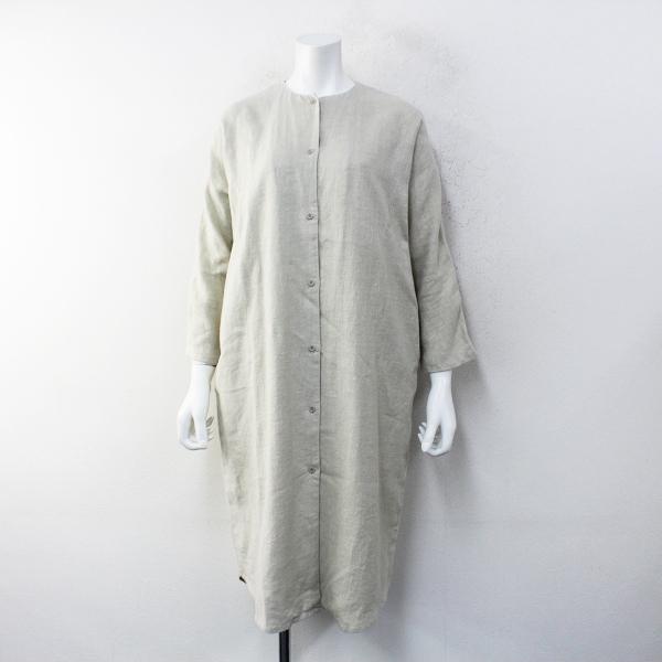 2019AW evam eva vie エヴァムエヴァ ヴィー V193T918 raising linen robe ライジングリネンローブ F/ベージュ【2400012264830】