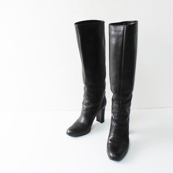 sergio rossi セルジオロッシ レザーロングブーツ 36.5/23.5~24.0cm ブラック【2400012264908】