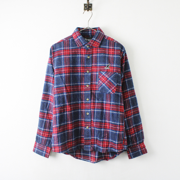 KANGOL × TRAIL WISE カンゴール トレイルワイズ ネルチェックシャツ F/レッド ネイビー メンズ【2400012266872】