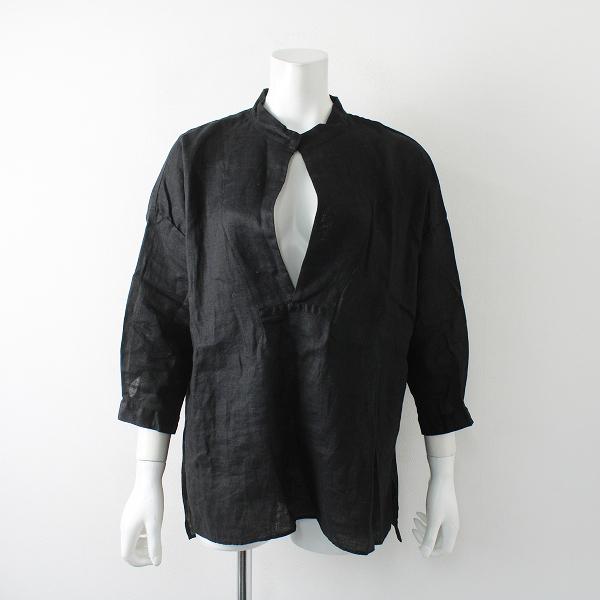 Veritecoeur ヴェリテクール ST-028L リネン スキッパーシャツ F/ブラック【2400012269446】