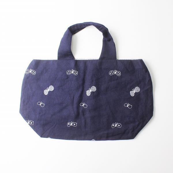 未使用品 2020SS mina perhonen ミナペルホネン choucho 刺繍 パニーニバッグ/ネイビー 小物【2400012269521】