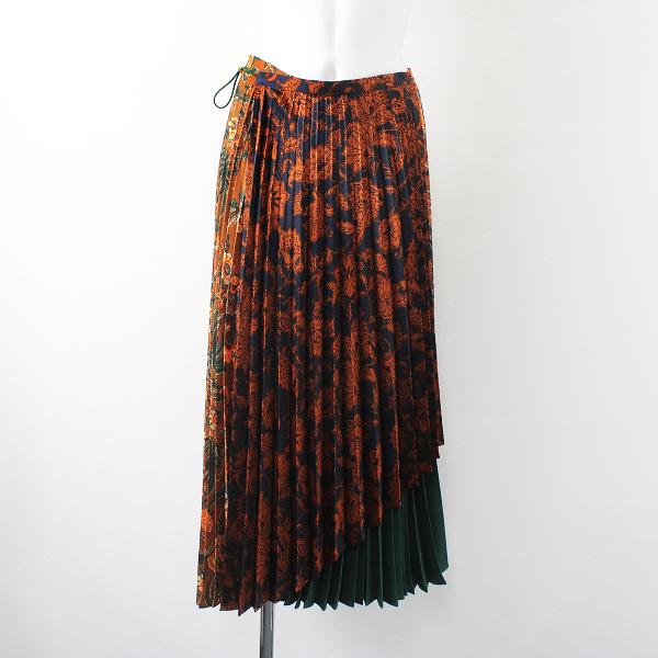 極美品 定価3.2万 2020SS Lois CRAYON ロイスクレヨン ダマスクフラワープリントプリーツスカートM/花柄【2400012274204】