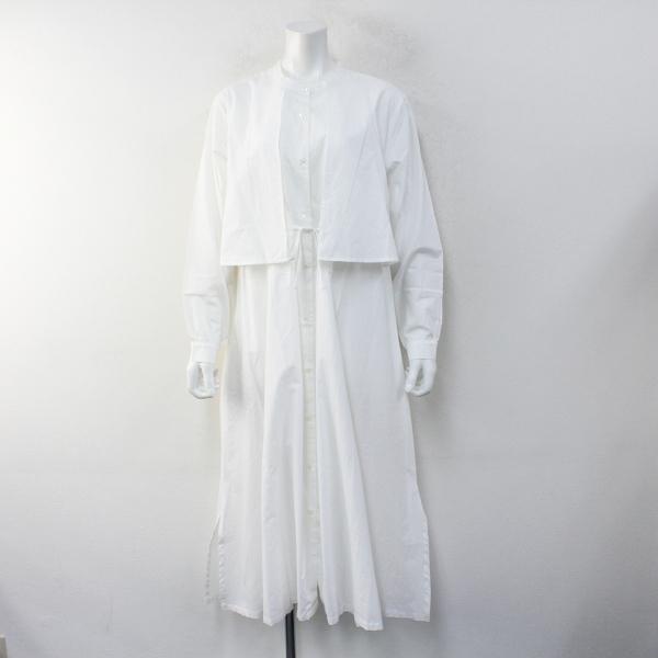 美品 Kelen ケレン レイヤード調 バンドカラーシャツワンピース M/ホワイト 白 羽織り ハオリ カラーレス【2400012275072】