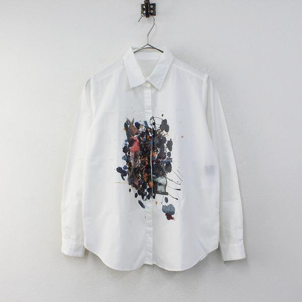 Lois CRAYON ロイスクレヨン フロントうさぎプリント 比翼ボタン レギュラーカラー長袖シャツ M/ホワイト ブラウス【2400012275225】