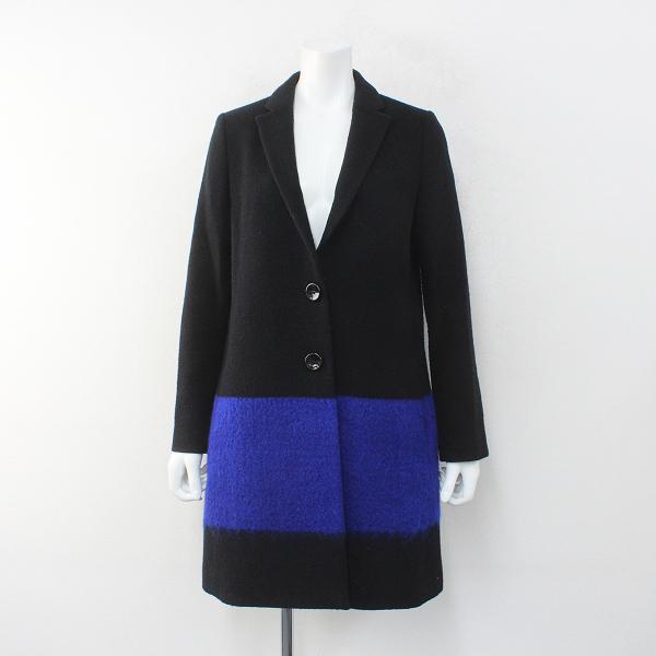 Lois CRAYON ロイスクレヨン ウール混 配色切替えチェスターコート M/ブラックブルー アウター 羽織り ハオリ【2400012275263】