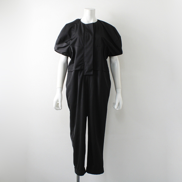 美品 2019AW MACHATT マチャット ボリュームスリーブ オールインワン S/ブラック パンツ【2400012277175】